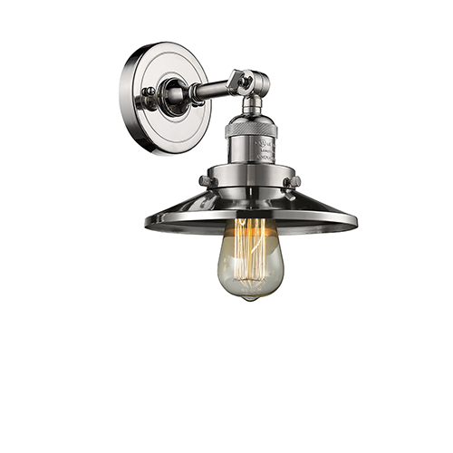 Railroad Polished Nickel One-Light Wall Sconce