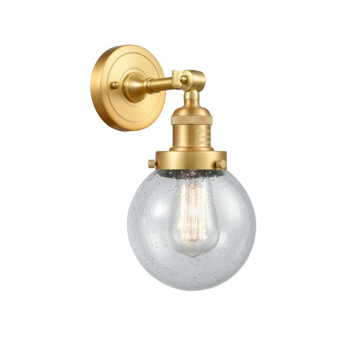 Franklin Restoration Satin Gold Six-Inch One-Light Wall Sconce with Seedy Beacon Shade