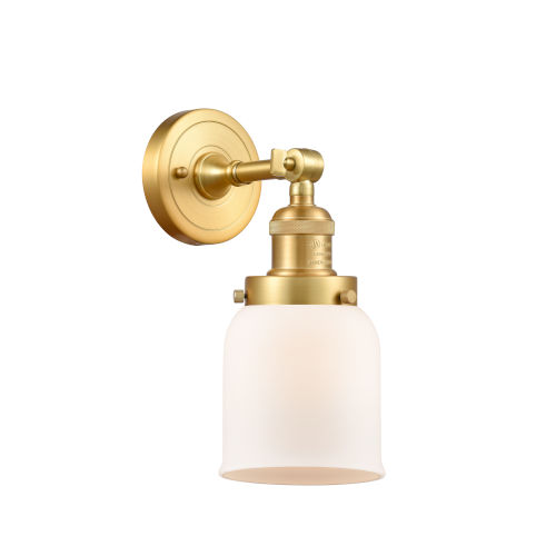 Franklin Restoration Satin Gold 10-Inch One-Light Wall Sconce with Matte White Cased Bell Shade