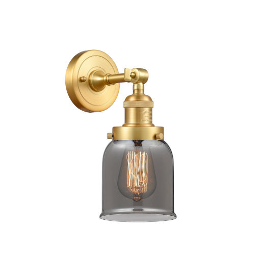 Franklin Restoration Satin Gold Five-Inch LED Wall Sconce with Plated Smoke Glass Shade