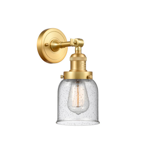 Franklin Restoration Satin Gold 10-Inch One-Light Wall Sconce with Seedy Bell Shade