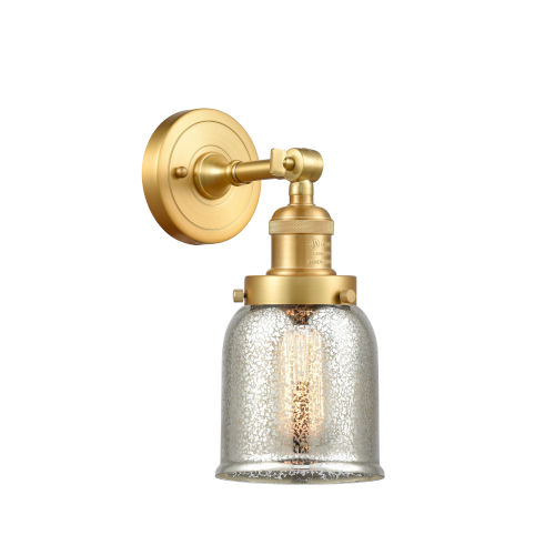 Franklin Restoration Satin Gold Five-Inch LED Wall Sconce with Silver Plated Mercury Glass Shade