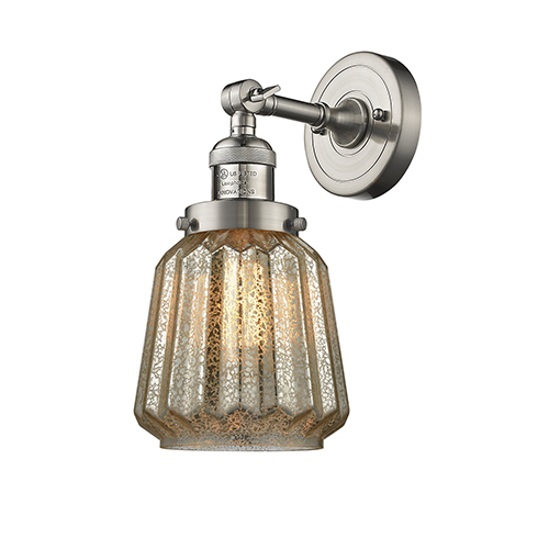 Innovations Lighting Chatham Brushed Satin Nickel One-Light Duo Mount with Mercury Fluted Novelty Glass