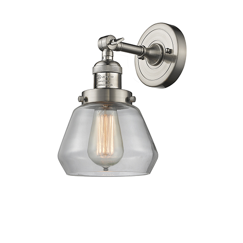 Innovations Lighting Fulton Brushed Satin Nickel 11-Inch LED Wall Sconce with Clear Sphere Glass