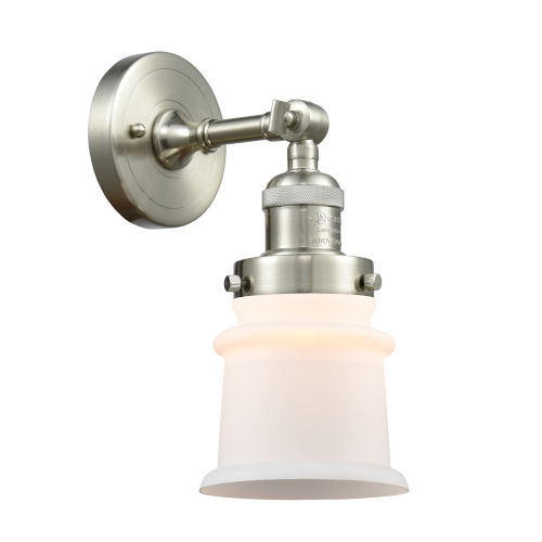Franklin Restoration Brushed Satin Nickel 11-Inch One-Light Wall Sconce with Matte White Canton Shade