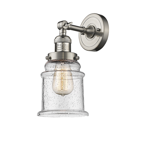 Canton Brushed Satin Nickel 11-Inch LED Wall Sconce with Seedy Bell Glass
