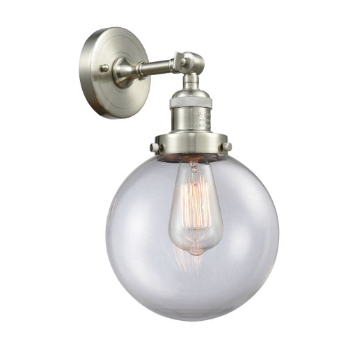 Franklin Restoration Brushed Satin Nickel Eight-Inch LED Wall Sconce with Clear Glass Shade