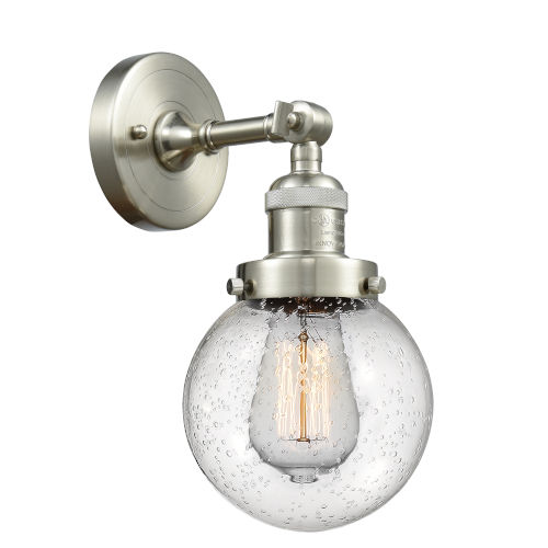 Beacon Brushed Satin Nickel One-Light Wall Sconce with Engraved Cast Cup