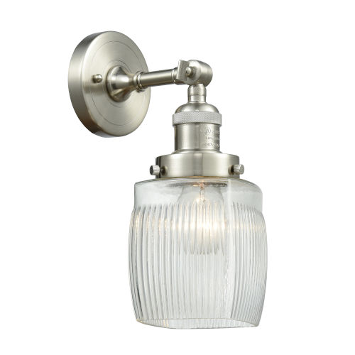 Colton Brushed Satin Nickel One-Light Wall Sconce with Engraved Cast Cup