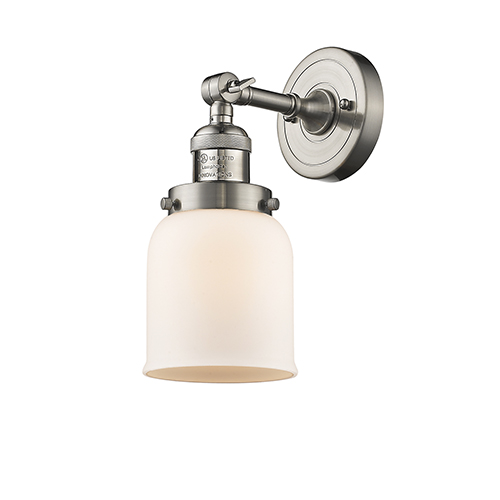 Innovations Lighting Small Bell Brushed Satin Nickel 10-Inch LED Wall Sconce with Matte White Cased Bell Glass