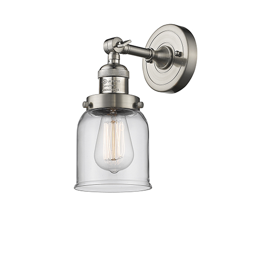 Innovations Lighting Small Bell Brushed Satin Nickel 10-Inch One-Light Wall Sconce with Clear Bell Glass