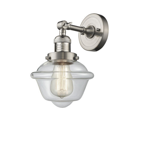 Small Oxford Brushed Satin Nickel LED Wall Sconce with Clear Glass
