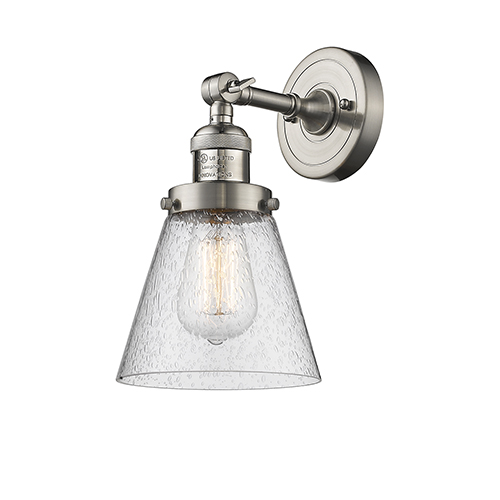 Innovations Lighting Small Cone Brushed Satin Nickel Six-Inch One-Light Wall Sconce with Seedy Cone Glass