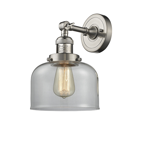 Large Bell Brushed Satin Nickel LED Duo Mount with Clear Dome Glass
