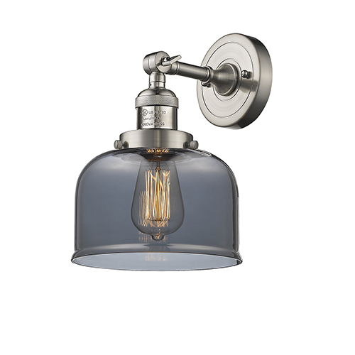 Innovations Lighting Large Bell Brushed Satin Nickel LED Duo Mount with Smoked Dome Glass