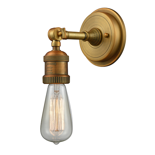 Bare Bulb Brushed Brass Five-Inch One-Light Wall Sconce
