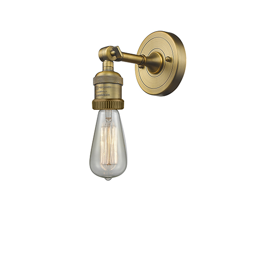 Bare Bulb Brushed Brass LED Reversible Wall Sconce