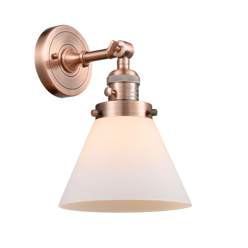 Large Cone Antique Copper One-Light Wall Sconce with Matte White Cased Glass