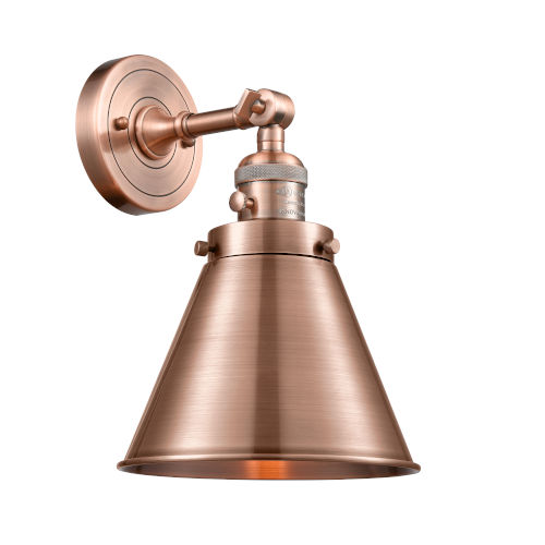 Appalachian Antique Copper One-Light Wall Sconce High-Low Off Switch
