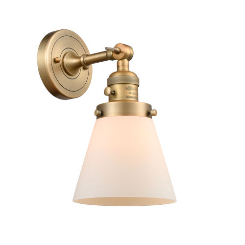 Franklin Restoration Brushed Brass Six-Inch One-Light Wall Sconce with Matte White Cased Small Cone Shade