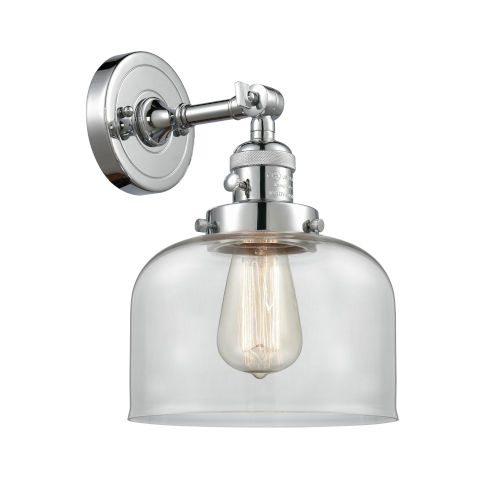 Franklin Restoration Polished Chrome Eight-Inch One-Light Wall Sconce with Clear Large Bell Shade
