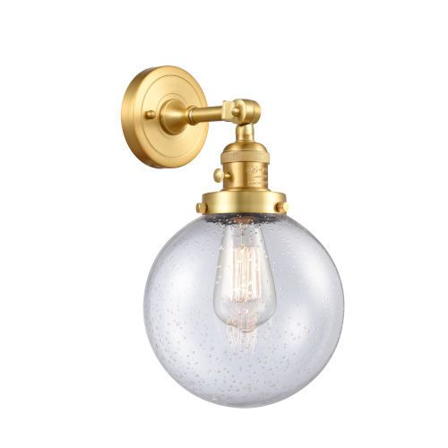 Franklin Restoration Satin Gold 14-Inch One-Light Wall Sconce with Large Seedy Beacon Shade