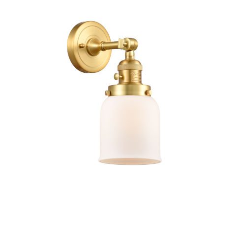 Franklin Restoration Satin Gold 10-Inch One-Light Wall Sconce with Matte White Cased Small Bell Shade