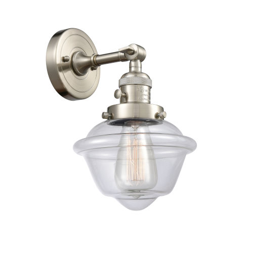Franklin Restoration Brushed Satin Nickel Eight-Inch One-Light Wall Sconce with Clear Small Oxford Shade