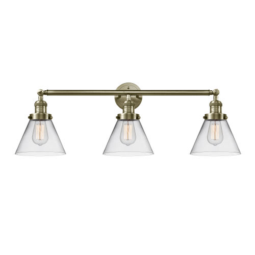 Large Cone Antique Brass Three-Light Bath Vanity with Clear Glass