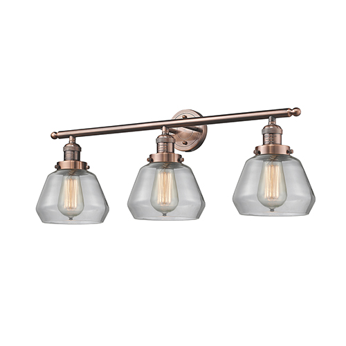 Innovations Lighting Fulton Antique Copper Three-Light Bath Vanity with Clear Sphere Glass