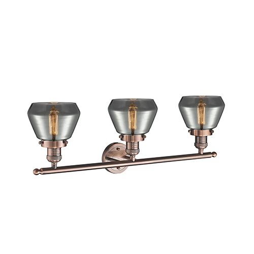 Innovations Lighting Fulton Antique Copper Three-Light LED Bath Vanity with Smoked Sphere Glass