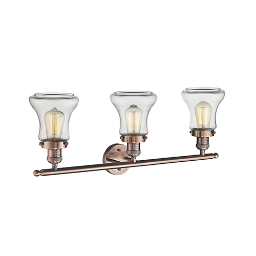 Innovations Lighting Bellmont Antique Copper Three-Light LED Bath Vanity with Clear Hourglass Glass