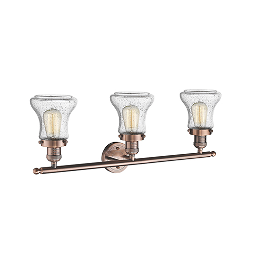 Bellmont Antique Copper Three-Light LED Bath Vanity with Seedy Hourglass Glass