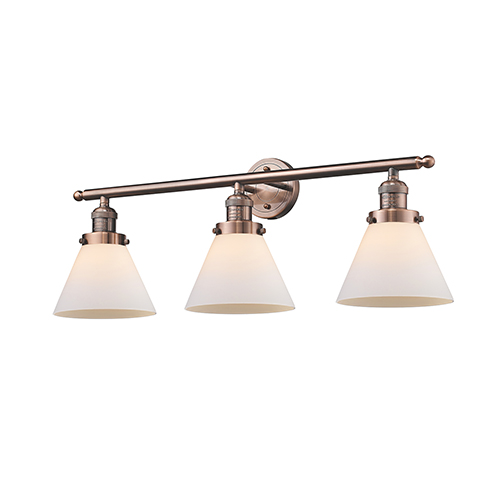 Innovations Lighting Large Cone Antique Copper Three-Light Bath Vanity with Matte White Cased Cone Glass