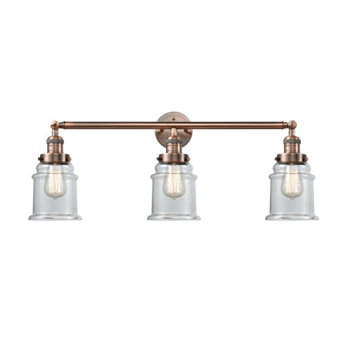 Canton Antique Copper Three-Light Bath Vanity with Clear Glass