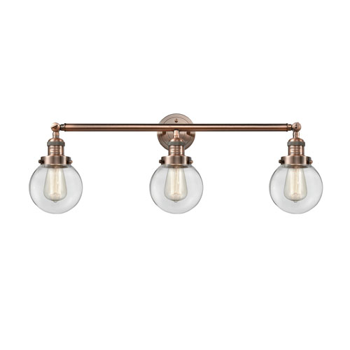 Beacon Antique Copper Three-Light LED Bath Vanity with Six-Inch Clear Globe Glass