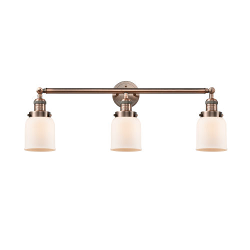 Small Bell Antique Copper Three-Light Bath Vanity with Matte White Cased Glass
