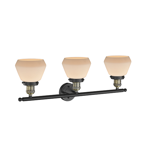 Innovations Lighting Fulton Black Antique Brass 30-Inch Three-Light LED Bath Vanity with Matte White Cased Sphere Glass