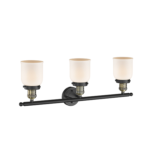 Innovations Lighting Small Bell Black Antique Brass 30-Inch Three-Light LED Bath Vanity with Matte White Cased Bell Glass