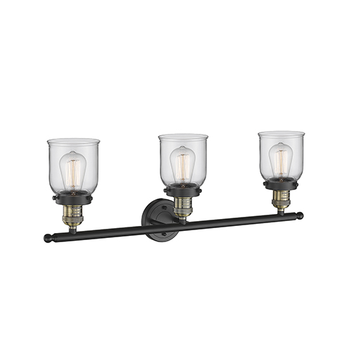 Small Bell Black Antique Brass 30-Inch Three-Light Bath Vanity with Clear Bell Glass