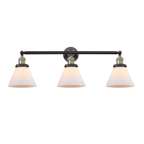 Large Cone Black Antique Brass Three-Light LED Bath Vanity with Matte White Cased Glass