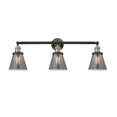 Small Cone Black Antique Brass Three-Light LED Bath Vanity with Smoked Glass