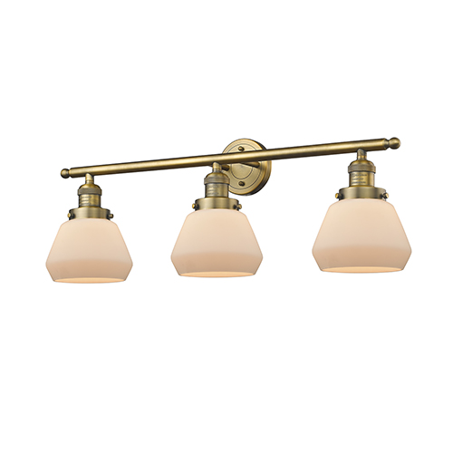 Innovations Lighting Fulton Brushed Brass Three-Light Bath Vanity with Matte White Cased Sphere Glass