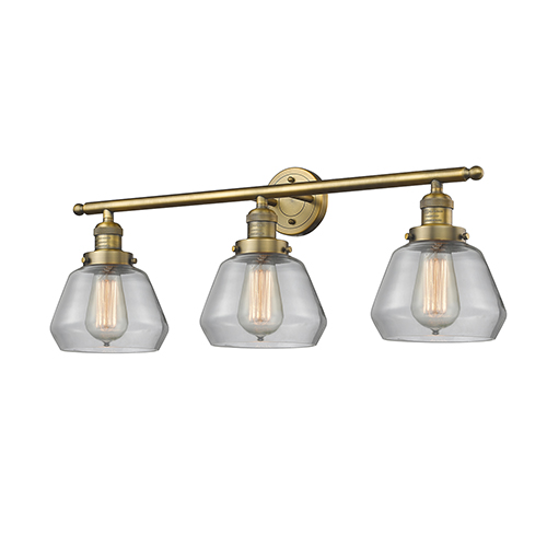Innovations Lighting Fulton Brushed Brass Three-Light Bath Vanity with Clear Sphere Glass