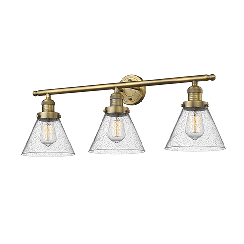 Innovations Lighting Large Cone Brushed Brass Three-Light Bath Vanity with Seedy Cone Glass