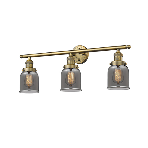 Innovations Lighting Small Bell Brushed Brass Three-Light Bath Vanity with Smoked Bell Glass