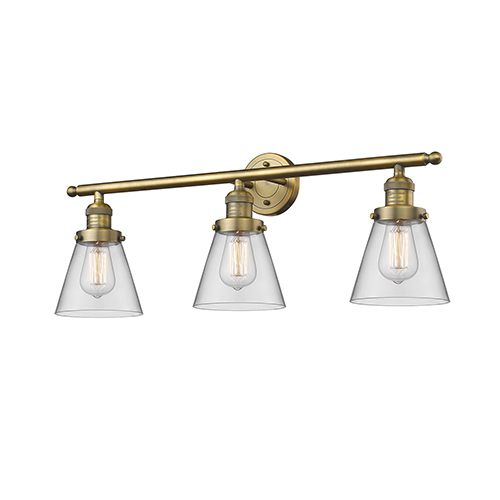 Innovations Lighting Small Cone Brushed Brass Three-Light LED Bath Vanity with Clear Cone Glass