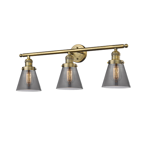 Innovations Lighting Small Cone Brushed Brass Three-Light LED Bath Vanity with Smoked Cone Glass