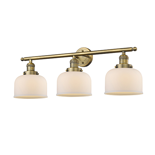Innovations Lighting Large Bell Brushed Brass Three-Light LED Bath Vanity with Matte White Cased Dome Glass