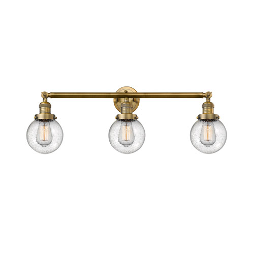 Innovations Lighting Beacon Brushed Brass Three-Light LED Bath Vanity with Six-Inch Seedy Globe Glass